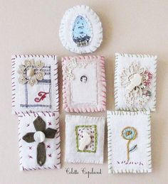 Textile brooch pin hand stitched white birdie by ColetteCopeland