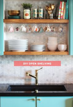 KITCHEN MAKEOVER UPDATE: how to make your own open shelving