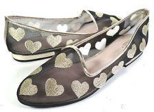 Rachel Antonoff Shoes 9 Bass Gatsby BLACK & GOLD HEART FLATS *EXCELLENT* SIZE 9