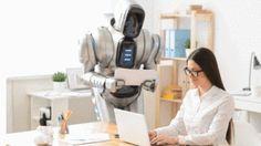 a robot in an office