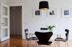 Simple black & white dining room.