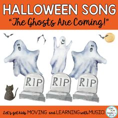 "Halloween Song ""The Ghosts Are Coming!"" versatile, adaptable and ""fun"" for all grades. Mp3 vocal & performance tracks, and activities. #singplaycreate #musicclassresource  #elementarymusiced  #elementarymusiceducation  #musicandmovement #movementactivities #MusicEducationActivities #elementarymusichalloweenlessons #musicedhalloween   #halloweenmusicactivities #musicedhalloweensongs #musicedhallowe #halloweenmusiclessons, #halloweensongsandactivities #halloweenmusic #halloweenmusicandmovement"