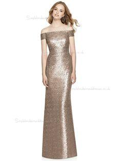 Discount Vintage Off-the-shoulder floor-length Column   Sheath Sequin  Champagne Bridesmaid Dress 8daed380940a