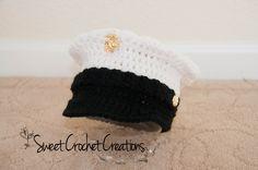US Marine Corps Dress Blues Hat by SweetCrochetCreation on Etsy