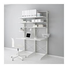 """FREESTANDING ALGOT system. (The Support Pieces for ALGOT are usually attached to the wall, but a freestanding version is also available.) ALGOT post/foot/shelves, white Width: 50 """" Depth: 26 3/8 """" Height: 76 3/8 """" Width: 127 cm Depth: 67 cm Height: 194 cm"""