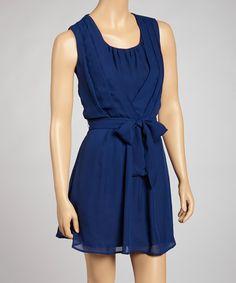 Love this Navy Pleated Tie-Waist Dress on #zulily! #zulilyfinds