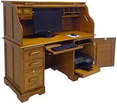 Oak Roll Top Computer Desk - In Stock! - Our Oak Roll Top Computer Desk is both beautiful yet practical in design. Old Furniture, Farmhouse Furniture, Home Office Furniture, Vintage Furniture, Furniture Decor, Online Furniture, Oak Computer Desk, Oak Desk, Best Computer