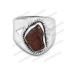 Natural Rough Garnet Gemstone 925 Solid Sterling Silver Ring Size 7 #Natureal #NaturalGemstoneRing