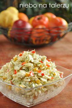 Sałatka zkurczakiem Guacamole, Potato Salad, Cabbage, Food And Drink, Potatoes, Dinner, Vegetables, Ethnic Recipes, Lasagna