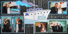 Black Scrapbook Page - Cruise Formal Night - 2 page travel layout with a cruise ship - from Travel Album 3