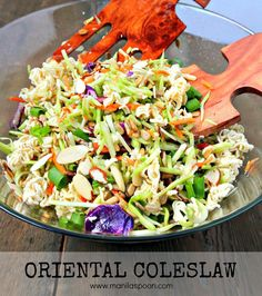 Very easy and tasty salad to make – ramen noodles, almonds and sunflower seeds provide the crunch and the dressing is quite tasty. You can't go wrong with this Oriental (Asian) Coleslaw. Perfect for picnics and potlucks, or any gathering! via Manila Spoon Coleslaw With Ramen Noodles, Ramen Coleslaw, Ramen Noodle Salad, Coleslaw Salad, Coleslaw Recipes, Asian Coleslaw Dressing, Oriental Coleslaw, Oriental Salad, Oriental Ramen