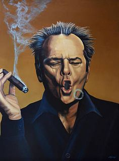 Portrait Wall Art - Painting - Jack Nicholson Painting by Paul Meijering Cigar Art, Cigar Room, Cigars And Whiskey, Whisky Bar, Cuban Cigars, Best Supporting Actor, Pool Bar, Jack Nicholson, Cigar Smoking