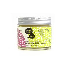 Le déodorant crème lavande sans bicarbonate Meow Meow Tweet est naturel et adapté aux peaux sensibles et il possède un délicieux parfum de lavande.