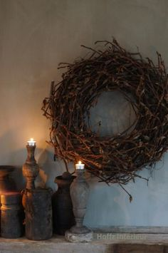 Maybe I can collect twigs, roots, etc; and glue to a basic grapevine wreath to get this look? Wreaths And Garlands, Door Wreaths, Candle Lanterns, Candles, Natural Living, Primitive Wreath, Christmas Mood, Rustic Charm, Grapevine Wreath