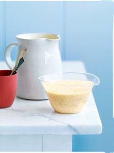 classic custard 2 cups (500ml) single (pouring) cream 1 vanilla bean split and seeds scraped or 2 teaspoons vanilla extract 4 egg yolks ¼ cup (55g) caster (superfine) sugar 1 tablespoon cornflour (cornstarch)