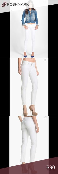 Paige 'Skyline' Ankle Peg Skinny Jeans A fresh white hue defines slim stretch jeans cut in a modern length. Mid rise  Zip fly with button closure. Five-pocket style. 98% cotton, 2% elastane. Paige Jeans Jeans