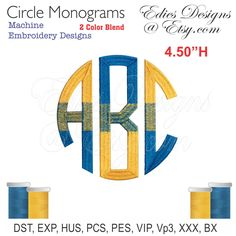 Circle Monograms Machine Embroidery Monograms BX Files Monogram Fonts Digital Download by EdiesDesigns on Etsy