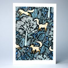 Foxes Playing in the Forest A4 / A3 Artists Print by PapioPress