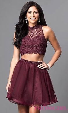 Two-Piece Short High-Neck Homecoming Dress at PromGirl.com
