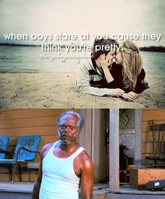 When boys stare at you cause they think youre pretty...