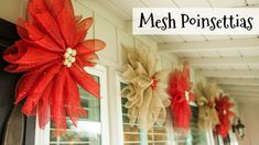 Mesh Poinsettias Christmas Decor DIY mesh poinsettias are great Christmas decor because you can hang them inside or outside and customize the colors to match your Christmas style. Poinsettia Wreath, Christmas Poinsettia, Christmas Crafts, Crochet Christmas, Christmas Angels, Christmas Christmas, Christmas Island, Christmas Ideas, Christmas Mesh Wreaths