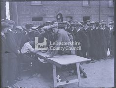 Mil 106 Military WWI 1914 Recruits signing up at magazine barracks building Glass plate negative Lumbers Negatives Collection, Leicestershire Record Office General Hospital, Wwi, Ancestry, Plate, English, Magazine, Building, Dishes, Plates