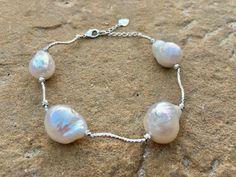 White baroque pearl statement bracelet - Large white baroque pearl bracelet by Bravojewelry on Etsy