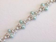Mint Green Beaded Bracelet Byzantine Chainmaille by PJsPrettys More