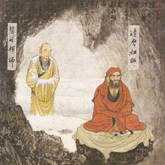 2nd Chinese Zen Patriarch Huike stands in the snow behind Bodhidharma