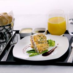 A beautiful Business Class meal, all part of Flying Reimagined.  www.etihad.com