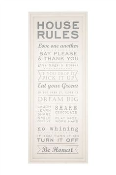 Buy House Rules Framed Wood Print from the Next UK online shop Kitchen Rules, Home Decor Kitchen, Kitchen Signs, Ikea Kitchen, Kitchen Cabinets, Fixer Upper, Layout Design, Budget, House Rules