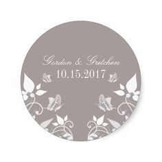 Ivory Butterfly Floral Wedding Stickers