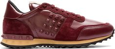 Valentino Burgundy Leather & Suede Rockstud Sneakers
