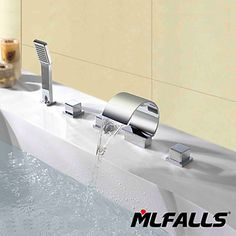 Mlfalls Contemporary Deck Mount Triple Handles Bathroom Waterfall Spout Faucet with Hand Shower http://www.tapso.co.uk/mlfalls-contemporary-deck-mount-triple-handles-bathroom-waterfall-spout-faucet-with-hand-shower-p-588.html