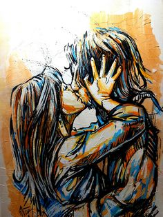 Artist Alice Pasquini - this is #acrylic #paint on paper glued on wood. Sweet! #art