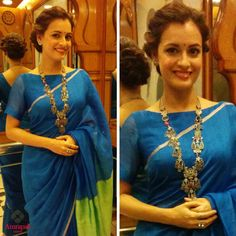 Love the Blouse style. P.S: Dia Mirza is so pretty.