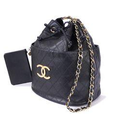 Chanel Black Lambskin Jumbo Draw-string Shoulder Bag Vintage XL