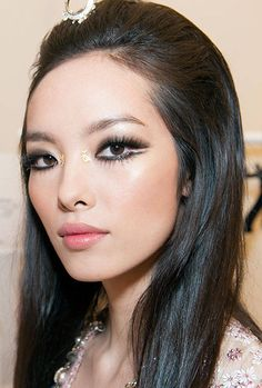 Chanel Cruise 2015 Hair  Makeup Look. Love this makeup look, except for the glitter dots.