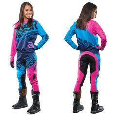Answer Racing Women's Syncron WMX Off Road MX Gear Set. not sure about the pink - but I like the electric blue Motocross Love, Motocross Girls, Motocross Gear, Dirt Bike Helmets, Dirt Bike Gear, Dirt Biking, Atv Riding, Riding Gear, Benz