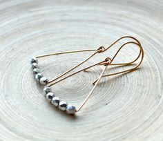 Minimalist geometric earrings gold filled and silver. Mixed metal #geometric #Style