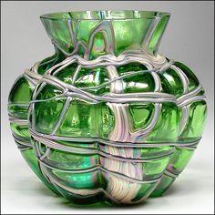 Antique Pallme Konig Art Nouveau Lobed Cabinet Glass Vase