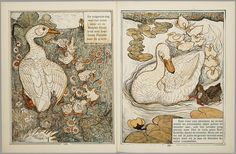 Het leelijke jonge eendje, pag. 8-9: naar het sprookje / van H. C. Andersen ; geteekend en gelithographeerd door T. van Hoytema,Amsterdam, C.M. van Gogh, 1893