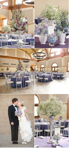 Love the dramatic floral arrangements in purple.