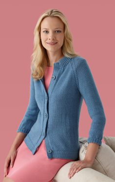 Image of Modern Raglan Cardigan (make in turquoise and border with small multi-colored crochet squares)