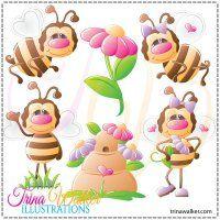 Happy Little Bees 1 Clip Art