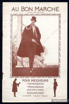 Au Bon Marche (Department Store) 1924 Men's Clothing Catalogue.