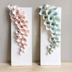 ArtByJenF, Ceramic Plaque, Flower Art, wall art, home decor, sculpture, handmade, floral art, handbuilt ceramics, clay, pottery, ceramic studio, flowers, delicate flowers, abstract art, hanging ceramics,