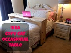 Ikea Copy Cat Homemade Occasional Table Tutorial - breakfast in bed table Teenage Girl Room Decor, Teen Room Decor, Home Decor Hacks, Easy Home Decor, Decor Ideas, Bed Ideas, Decorating Hacks, Ideas Decoración, Bedroom Ideas