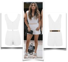 Rompers and Playsuits - Celebrity styles for Summer 2015. celebritybargainbuy.  Ally Brooke is wearing the Miss Selfridges V Neck belted Playsuit in white $68 USD.