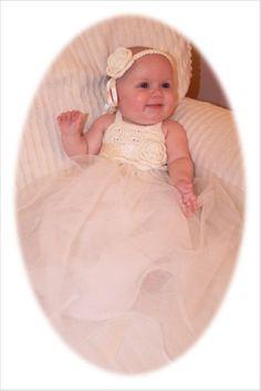 Infant Hand Crochet Tutu Dress with matching headband